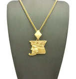 "Polished Poker King pendant w/3mm 24"" Cuban Chain Necklace"