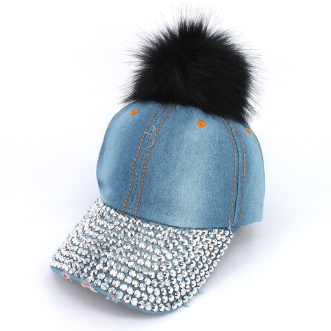 Faux Fur Pom Pom Vintage Rhinestone Bill Adjustable Baseball Cap Hat