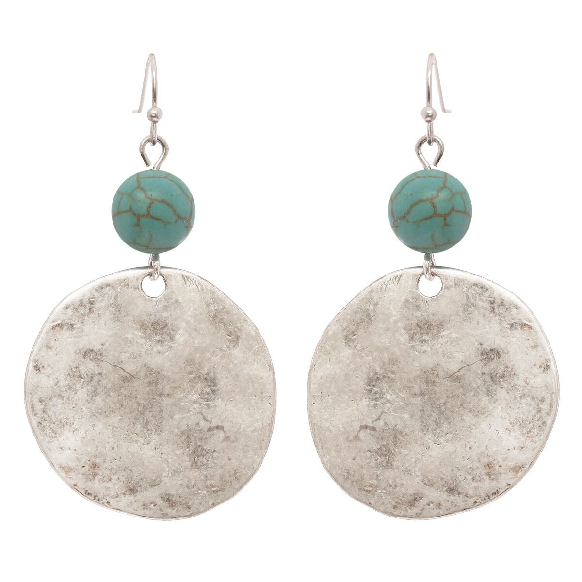 Women's Round Hammered Metal with Bead Dangle Pierced Earrings
