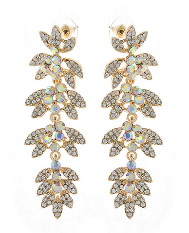 Women's Rhinestone Studded Leaf Dangling Clear Stone Vine Earrings in Gold-Tone