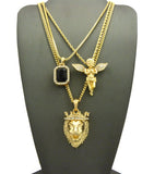 Colored Gemstone, Extended Wing Pray Angel & King Lion Pendant Set w/ Varying Gold-Tone Chain Necklaces