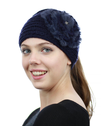 NYFASHION101 Stone Accent Hand Knitted Flower Winter Headband Headwrap