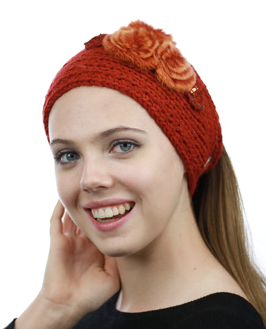 NYFASHION101 Hand Knitted Furry Flowers Winter Headband Headwrap