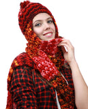 NYFASHION101 Nepal Wool Fleeced Hand Knit Ski Trooper Hat Scarf Set