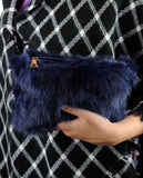 C.C Women's Evening Faux Fur Fuzzy Crossbody Shoulder Bag Clutch Purse