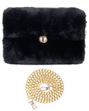 C.C Women's Evening Faux Fur Fuzzy Crossbody Shoulder Bag Envelope Clutch Purse
