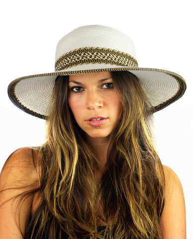 NYFASHION101 Multicolor Weaved Band and Trim Wide Brim Panama Hat