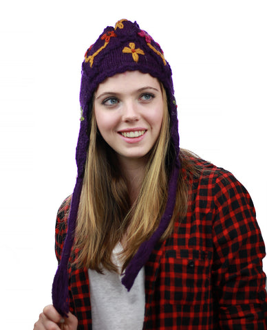 NYFASHION101 Nepal Handmade Ear Flaps Wool Fleece Lined Winter Hat