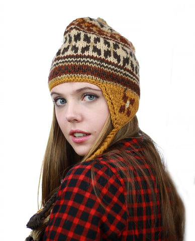 NYFASHION101 Nepal Handmade Ear Flaps Wool Fleece Lined Winter Hat-C12