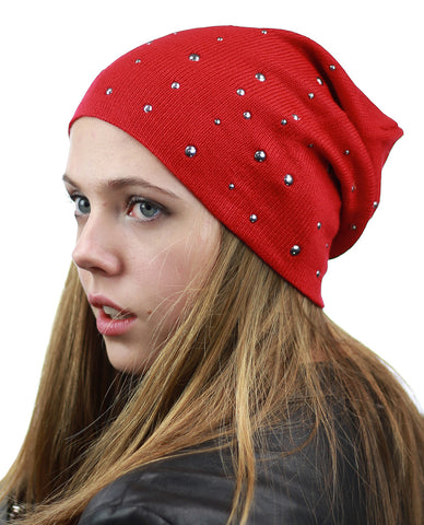 NYFASHION101 Unisex Comfort & Warm Knit Studded Slouchy Beanie Hat