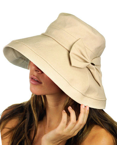 NYFASHION101 Women's Summer Packable Bow Accent Foldable Brim Beach Sun Hat