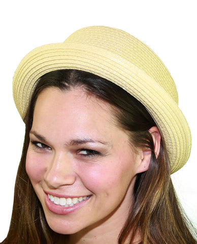 NYfashion101 Straw Woven Band Accent Flat Top Porkpie Fedora Hat