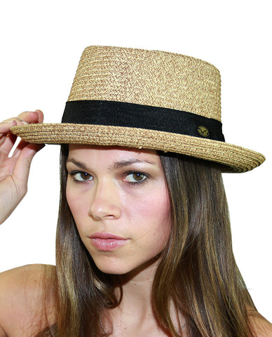 NYFASHION101 Unisex Two Tone Straw Weaved Panama Pork Pie Hat - L/Xl