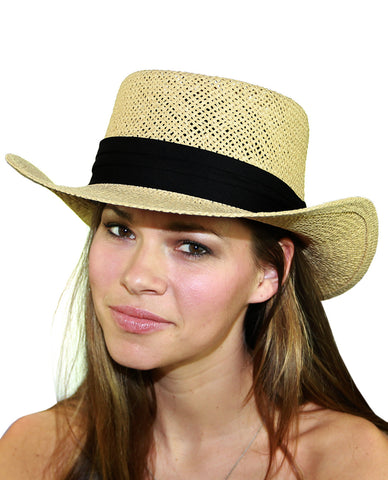 NYFASHION101 Unisex Classic Black Band Straw Weaved Panama Hat
