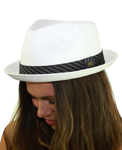 NYFASHION101 Striped Band Straw Weaved Lightweight Trilby Fedora Hat