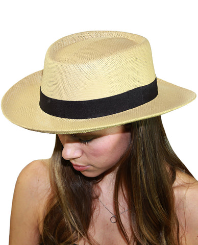 NYFASHION101 Unisex Black Band Straw Open Weaved Panama Hat - Natural