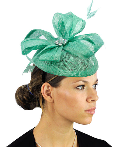 NYfashion101 Women's Rhinestone & Feather Accent Sinamay Fascinator Headband