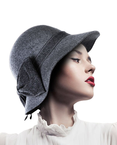 NYfashion101 Exclusive Women's Enlarged Bow Wool Bell Cloche Bucket Hat