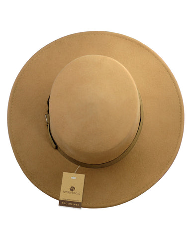 1608467e NYFASHION101 Wool Wide Brim Porkpie Fedora Hat w/ Simple Band Accent