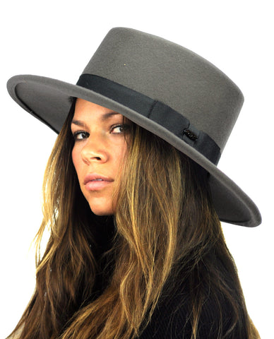 NYFASHION101 Wool Wide Brim Porkpie Fedora Hat w/ Simple Band Accent