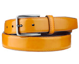 Eurosport Men's Polished Bonded Leather Cut-To-Fit Belt with Metal Square Brushed Buckle