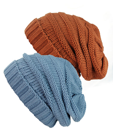 Oversized Baggy Slouchy Thick Winter Beanie Hat - 2 pack set