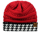 C.C Cable Knit Soft Stretch Multicolor Houndstooth Stitch Cuff Skully Beanie Hat