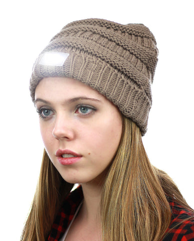 NYFASHION101® LED Hands Free Light Winter Cable Knit Cuff Beanie Hat