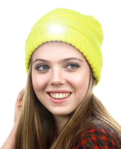 315d2aca8f7 NYFASHION101® LED Hands Free Light Winter Cable Knit Cuff Beanie Hat