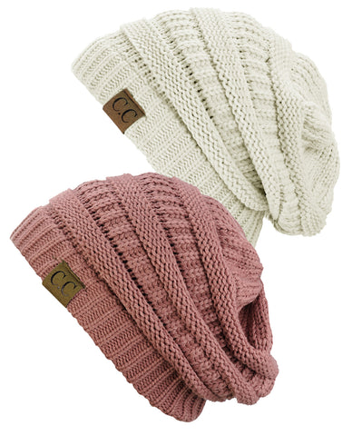 Unisex Trendy Warm Chunky Soft Stretch Cable Knit Slouchy Beanie Skully - 2 Pack SET