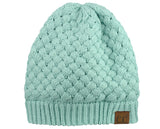 C.C Basketweave Knit Warm Inner Lined Soft Stretch Skully Beanie Hat