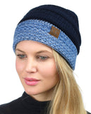 C.C Cable Knit Soft Stretch Multicolor Stitch Cuff Skully Beanie Hat