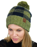C.C Soft Stretch Pom Pom Fuzzy Lined Buffalo Plaid Cuff Beanie Hat