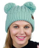 C.C 2 Ear Pom Pom Cable Knit Soft Stretch Cuff Skully Beanie Hat