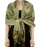 NYFASHION101 Large Soft Double Layer Jacquard Paisley Print Scarf Shawl Wrap- Olive
