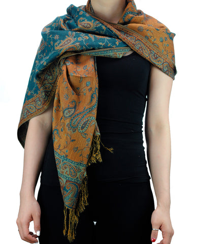 NYFASHION101 Large Soft Double Layer Jacquard Paisley Print Scarf Shawl Wrap- Cyan
