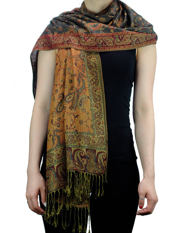 NYFASHION101 Large Soft Double Layer Jacquard Paisley Print Scarf Shawl Wrap- Green