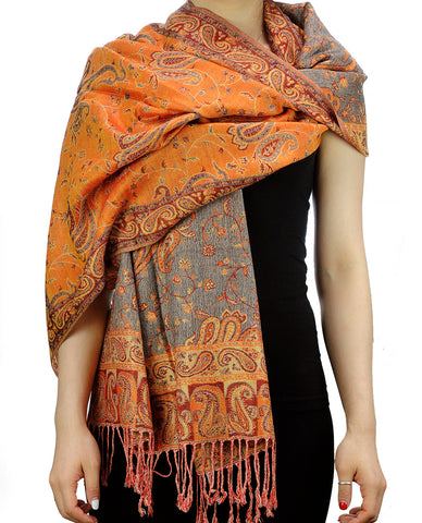 NYFASHION101 Large Soft Double Layer Jacquard Paisley Print Scarf Shawl Wrap- Mandarin