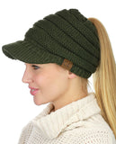 C.C BeanieTail Warm Knit Messy High Bun Ponytail Visor Beanie Cap