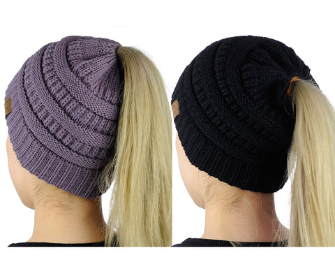 47149311965 C.C BeanieTail Soft Stretch Cable Knit Messy High Bun Ponytail Beanie Hat -  2 Pack