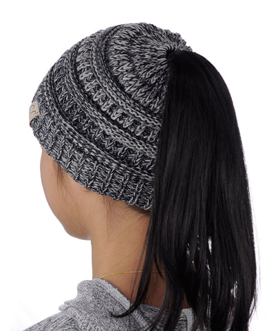 2043dba6d41c62 C.C BeanieTail Kids' Children's Soft Cable Knit Messy High Bun Ponytail  Beanie Hat