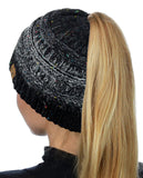 C.C BeanieTail Soft Stretch Cable Knit Messy High Bun Ponytail Beanie Hat, Confetti Ombre Black