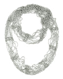 NYFASHION101® Silver-Tone Beaded Skinny Fishnet Infinity Loop Scarf