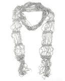 NYFASHION101® Silver-Tone Beaded Skinny Fishnet Shawl Scarf Waist Belt