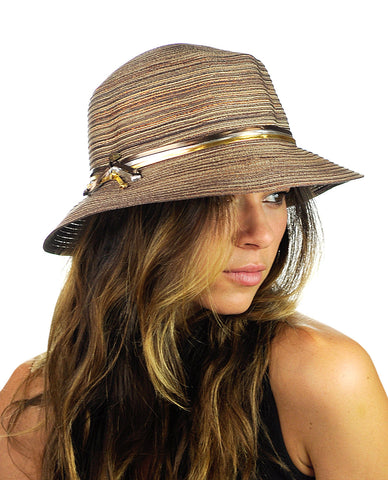 NYFASHION101 Metallic Thread Glossy 3-Tone Band Mini Flop Flip Up Brim Sun Hat