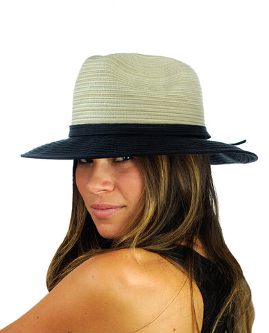 NYFASHION101 Multicolor Weaved Band Matching Brim Panama Fedora Sun Hat