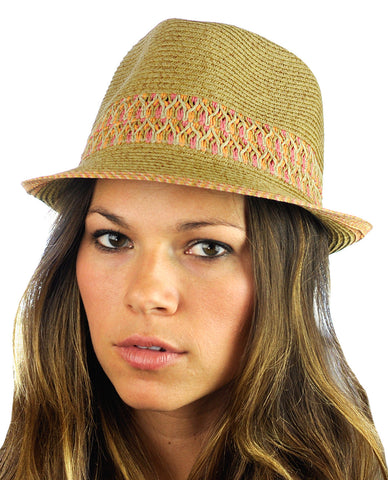 NYFASHION101 Multicolored Weaved Band and Trim Stingy Trilby Fedora Hat