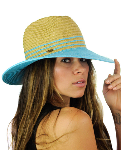 NYFASHION101 Weaved Full Color Brim Teardrop Dent Panama Fedora Sun Hat