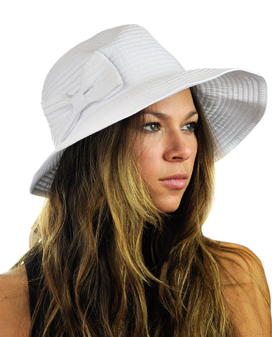 NYFASHION101 Women's Bow Accent Crushable Packable Up Brim Beach Sun Hat