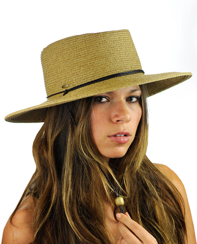 NYFASHION101 Multicolor Weaved Wide Brim Pork Pie Boater Hat w/ Chin Cord